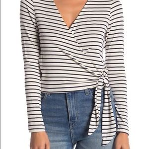 PST Blue and White Stripe Wrap Top